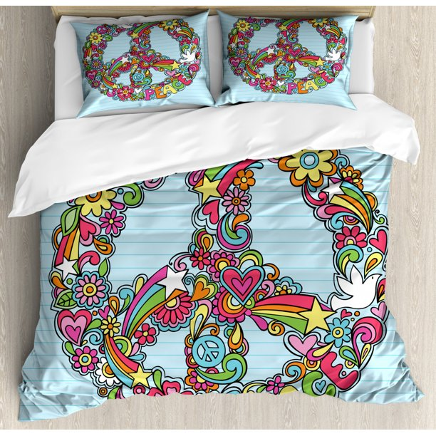 Hippie Queen Size Duvet Cover Set, Hand-Drawn Psychedelic ...