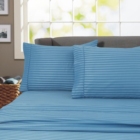 600 Thread Count 100% Cotton Wrinkle Free Striped Sheet Set (California King, Teal)