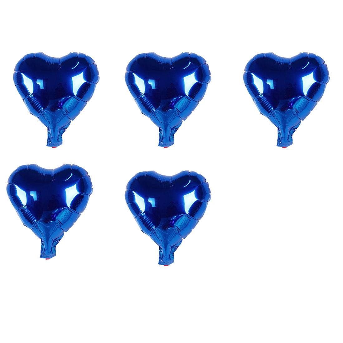 Unique Bargains Foil Heart Shape Balloon Birthday Wedding Decor Blue 5 Inches 5 Pcs