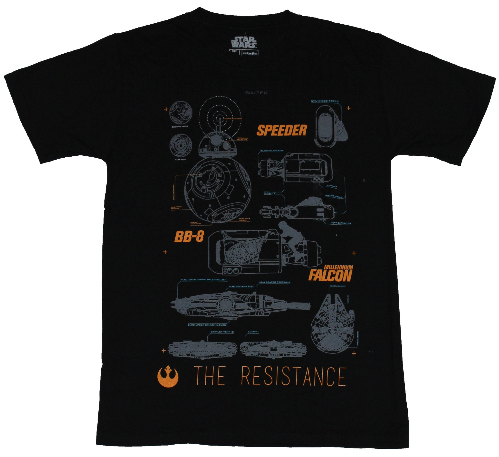 Star Wars Mens T-Shirt - The Resistance Schematics of Vehicles Image