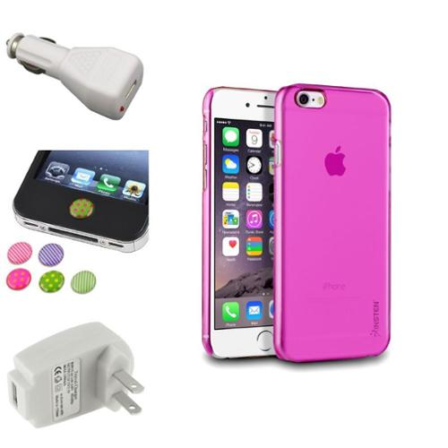 Insten Pink Clear Hard Snap-On Slim Case+White AC+Car Charger+Sticker For Apple iPhone 6S 6 4.7""