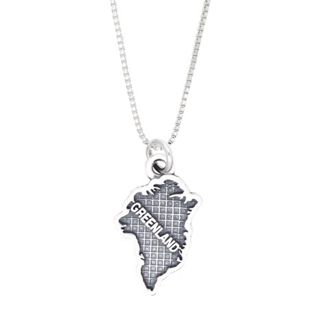 Sterling Silver Oxidized Travel Map of Greenland Charm Necklace