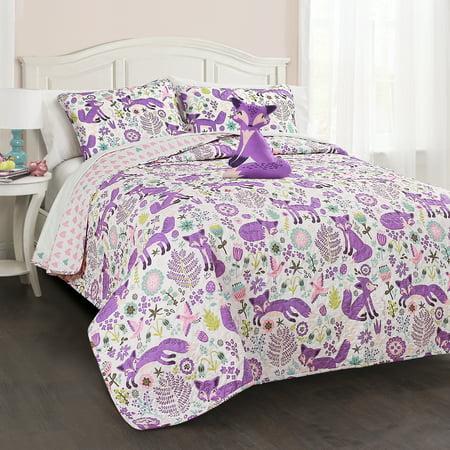 Pixie Fox Quilt Purple/Pink 4Pc Set Full/ Queen