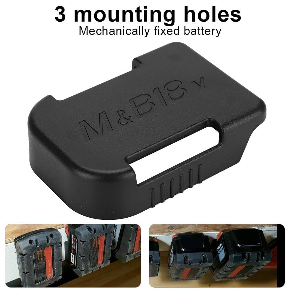2x Black MAKITA BATTERY Mount Holder for Shelf Slots Rack Holder Stand