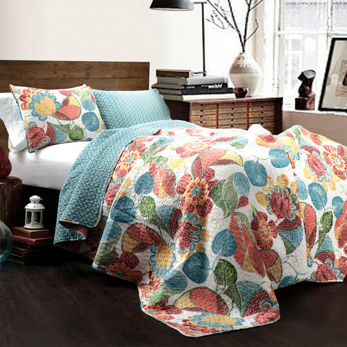 Layla 3-Piece Orange/Blue Quilt Set