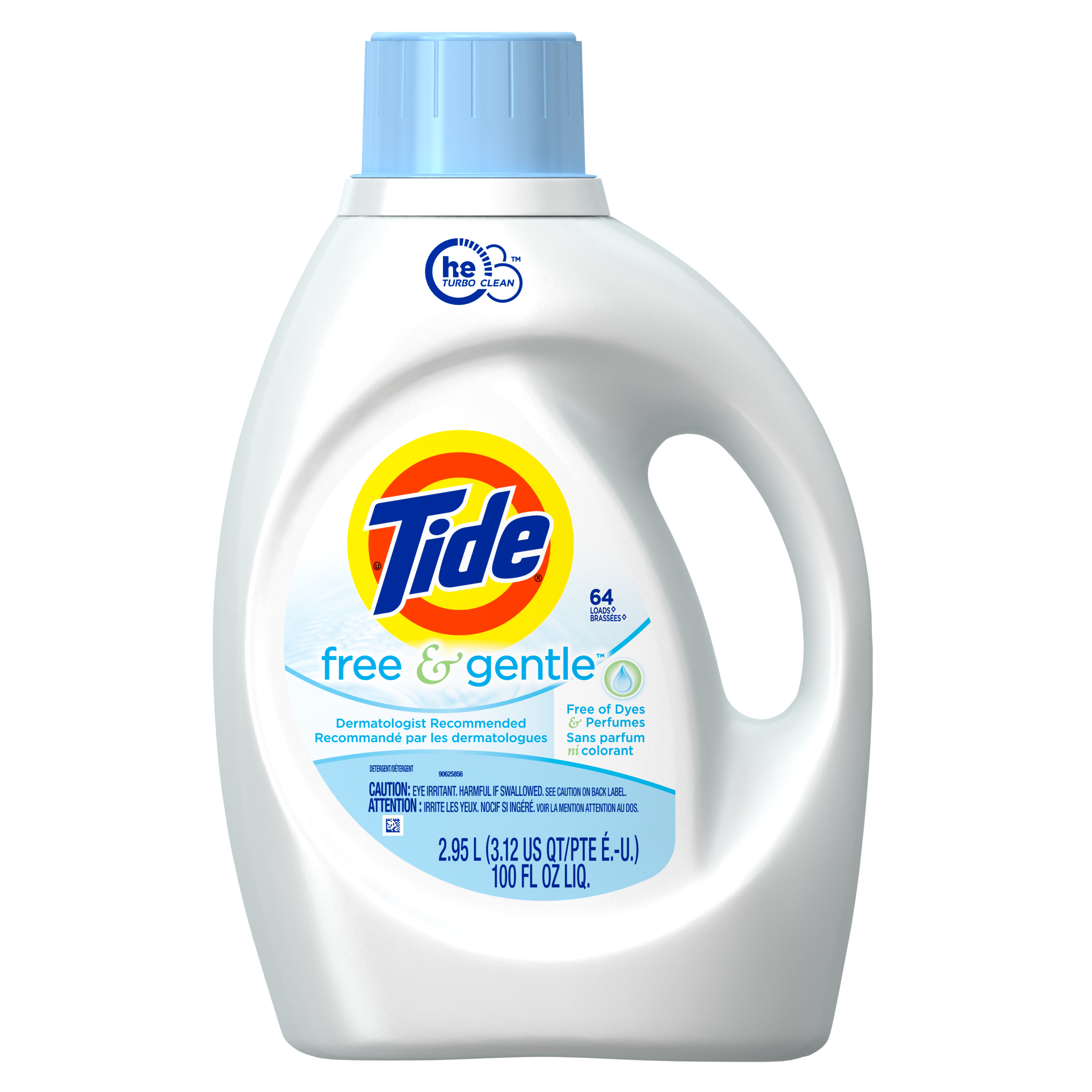Tide HE Turbo Clean Free and Gentle Liquid Laundry Detergent 100 oz 64 Loads