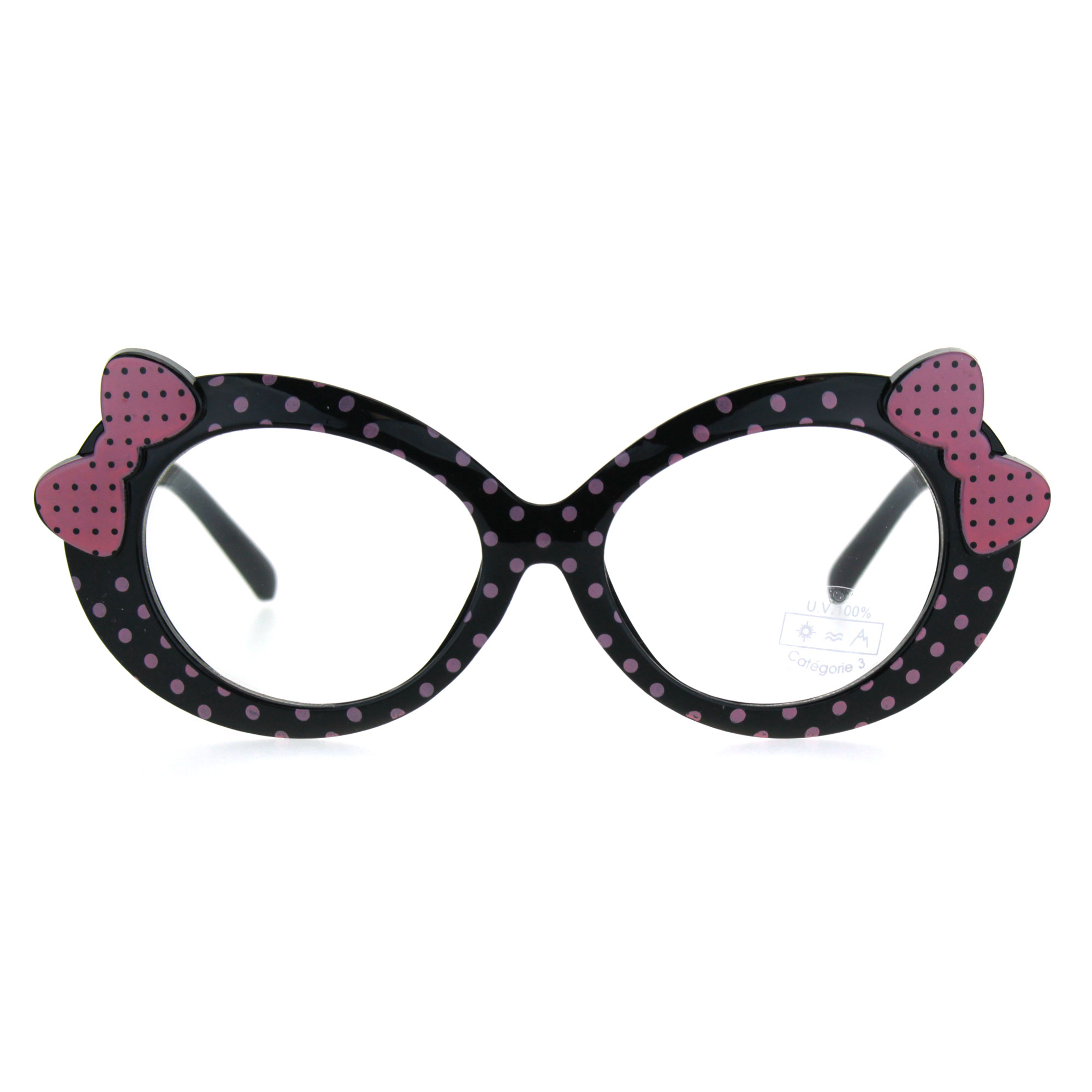 Kids Size Girls Polka Dot Oval Bow Jewel Trim Plastic Clear Lens Eye Glasses Black Pink Dot