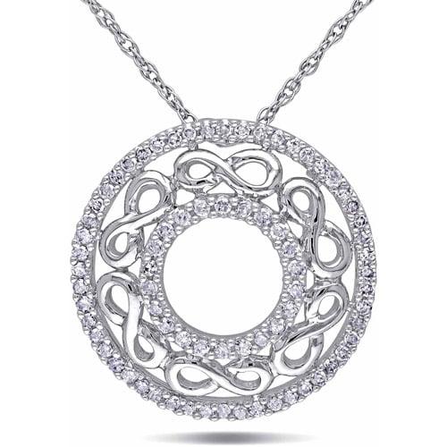 "Miabella 1/4 Carat T.W. Diamond 10kt White Gold Infinity-Circle Pendant, 17"""