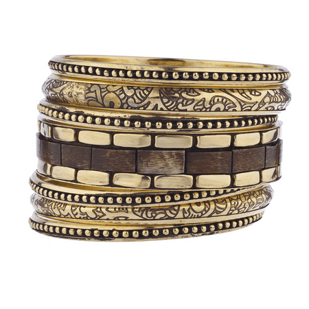 - Lux Accessories Gold Tone Wood Burnished Aztec Multi Bangle Bracelet Set