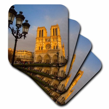 3dRose Setting sunlight on facade of Cathedral Notre Dame, Paris, France - Ceramic Tile Coasters, set of 4