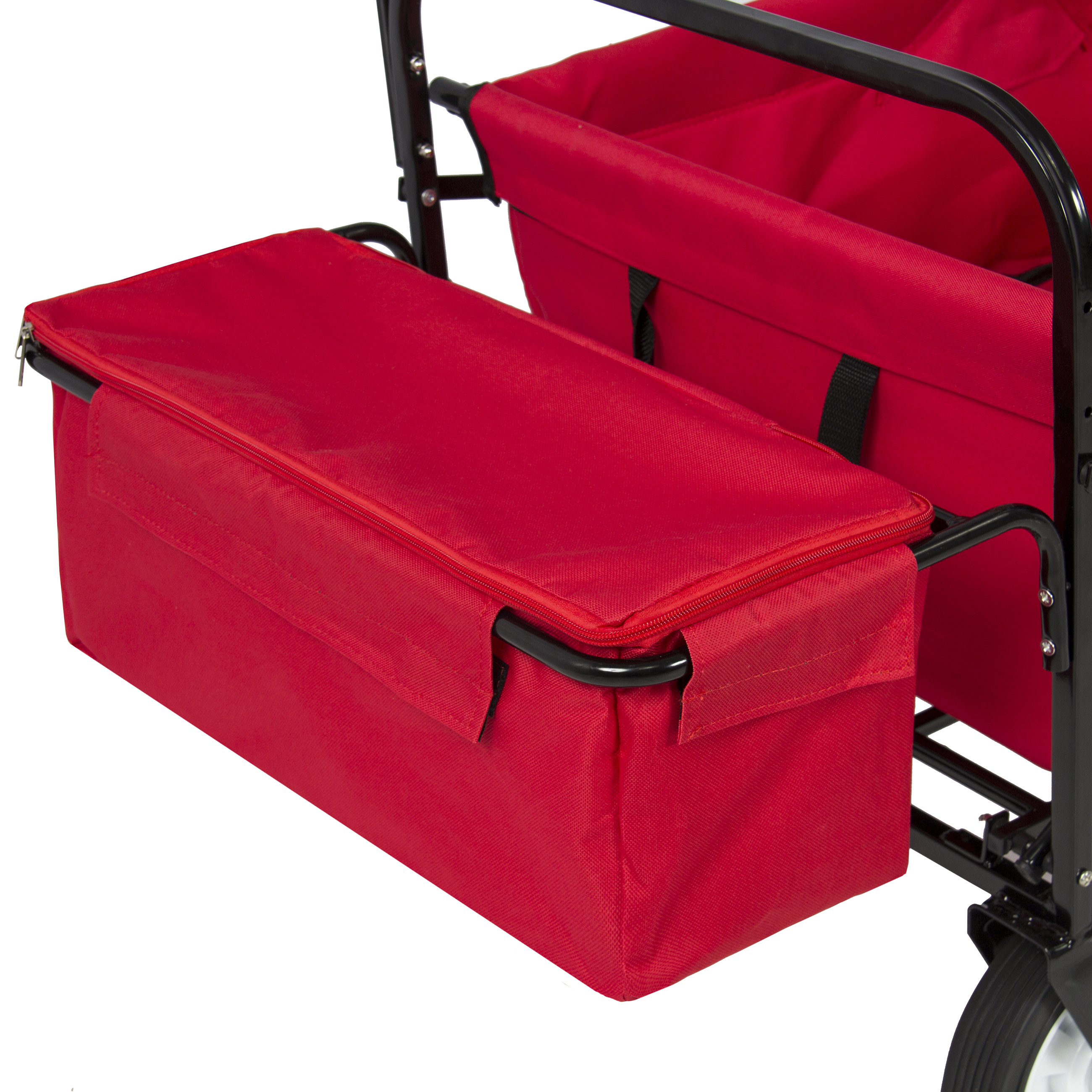 Best Choice Products Folding Utility Cargo Wagon Cart For Beach Camping Groceries W Removable Canopy Cup Holders Red