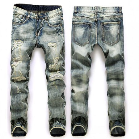 Men Plus Size Straight Jeans Male Distressed Denim Pants Biker Jeans Ro Designer Bin Jeans for Men Religious Outfits - Plus Size Men