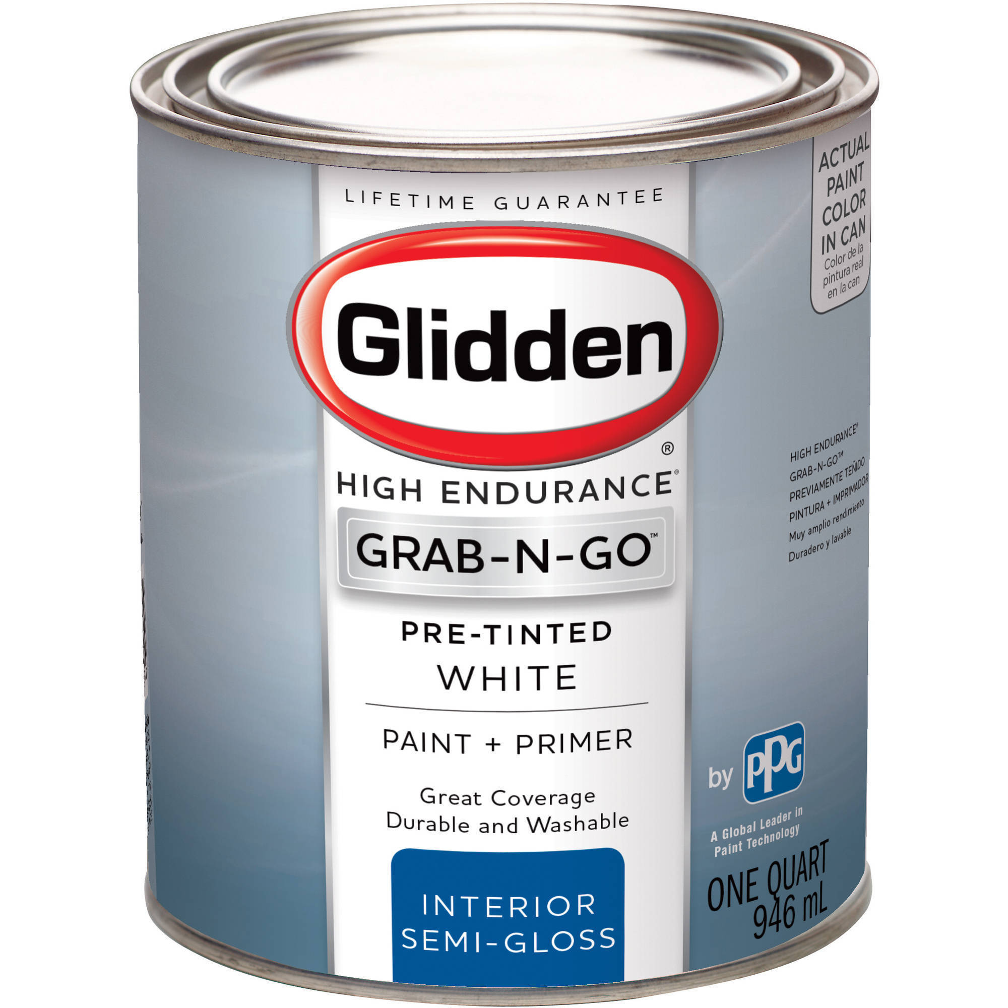 Glidden High Endurance Grab-N-Go, Interior Paint and Primer, Semi-Gloss Finish, White, 1 Quart