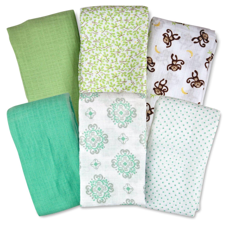 Summer Infant SwaddleMe Muslin Blanket, 6 Pack, Monkey/Geo