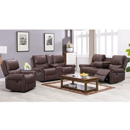 Recliner Sofa Living Room Set Reclining Couch Sofa Chair Leather Loveseat 3 Seater Home Theater Seating Manual Recliner Motion For Home Furniture ()