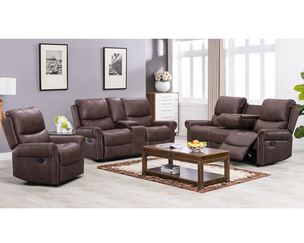Product Image Recliner Sofa Living Room Set Reclining Couch Sofa Chair  Leather Loveseat 3 Seater Home Theater Seating