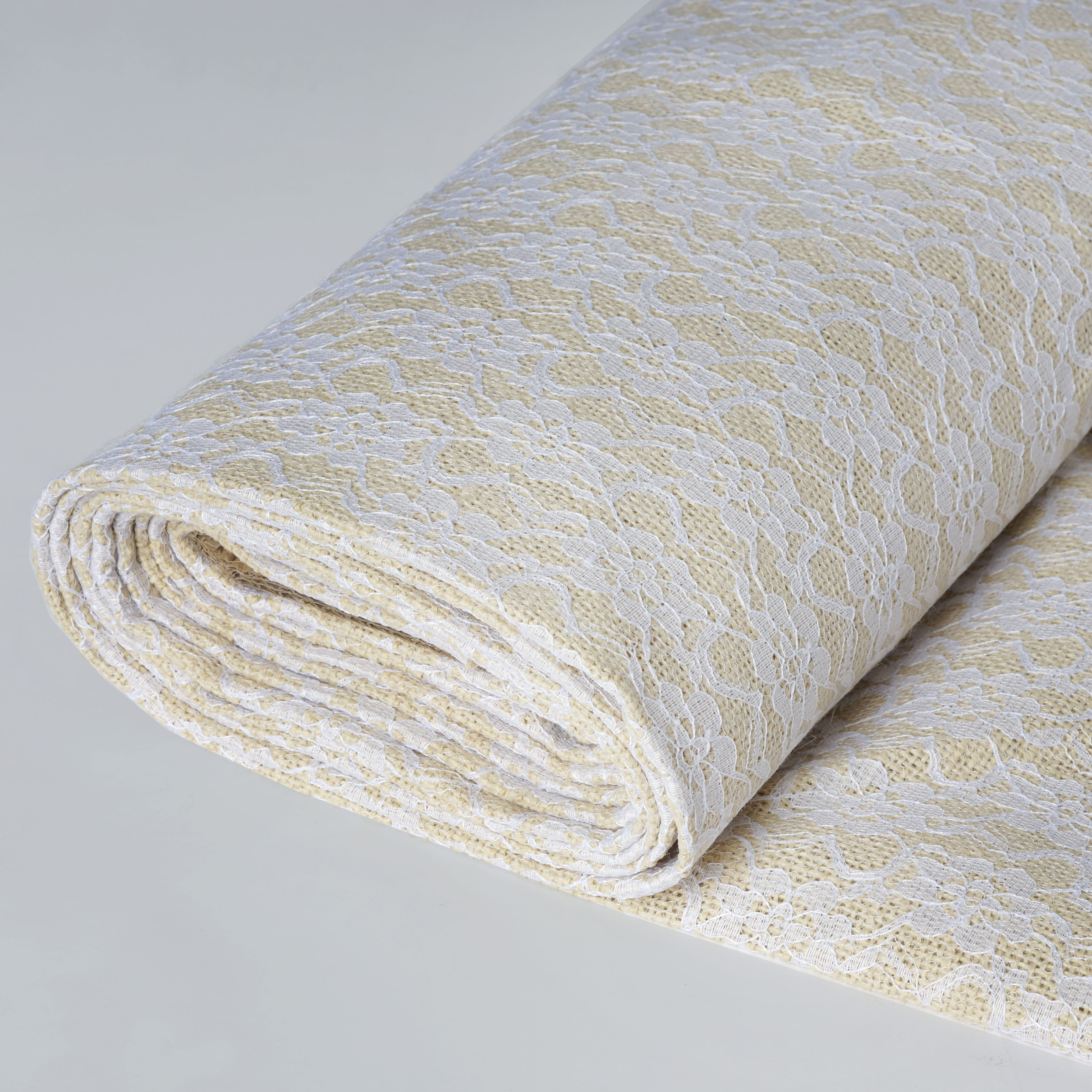 BalsaCircle 54 inch x 4 yards Natural Burlap with White Lace Fabric Roll