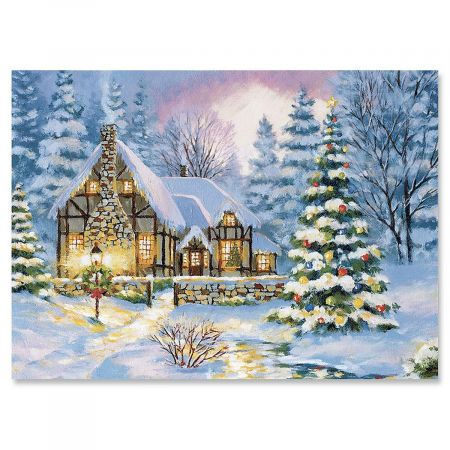 Winter Cottage Christmas Cards - Set of 18