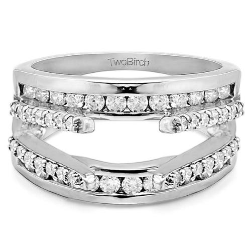 Twobirch  10k White Gold 1/2ct TDW Diamond Cathedral and Traditional Wedding Ring Enhancer Set