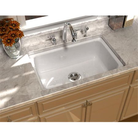 SONG S-8410-5U-70 Undercounter Kitchen Sink in White with 5 Faucet Holes
