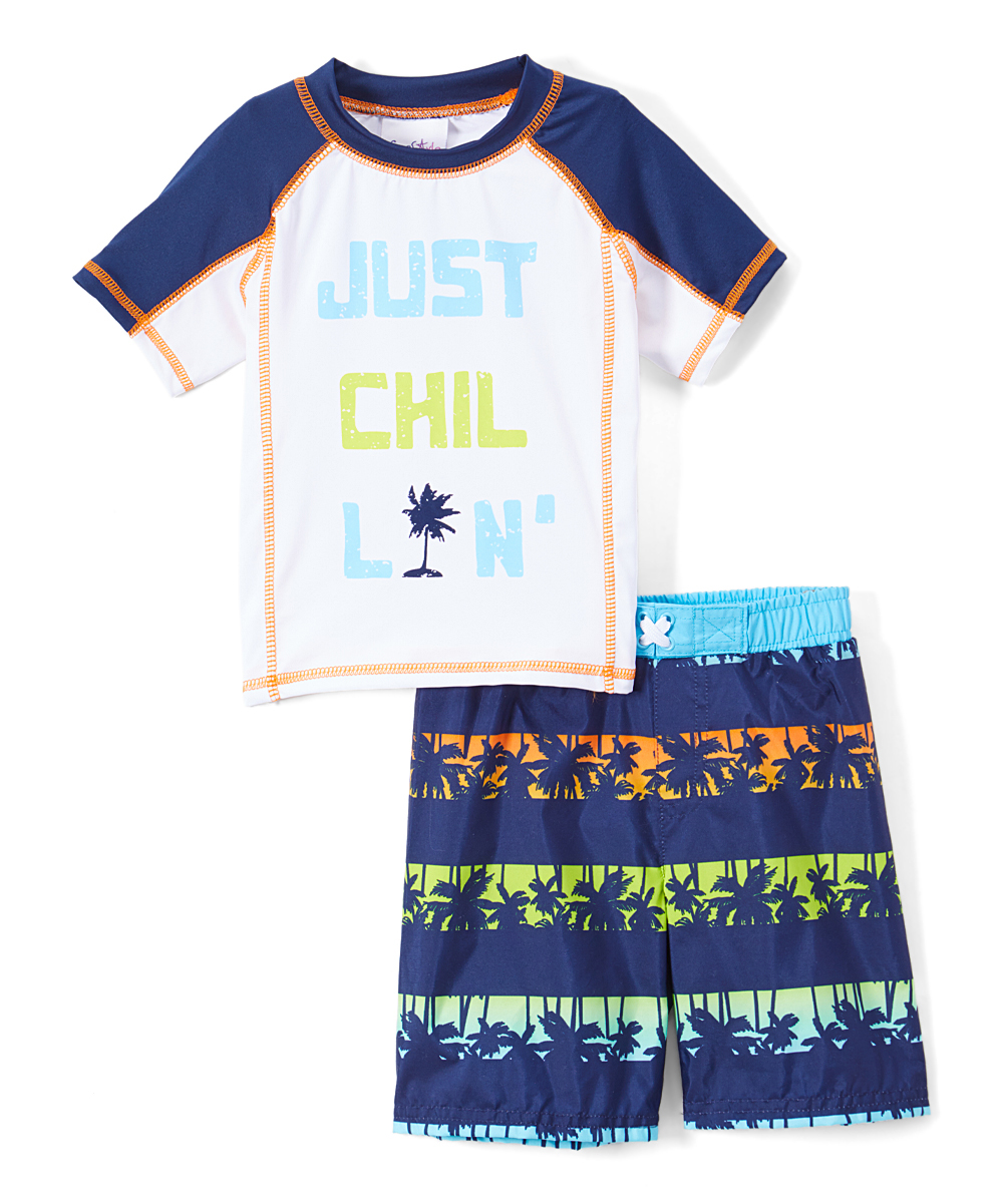 """Just Chillin"" Palm Tree Rashguard and Swim Trunk , 2-Piece Set (Toddler and Infant Boys)"