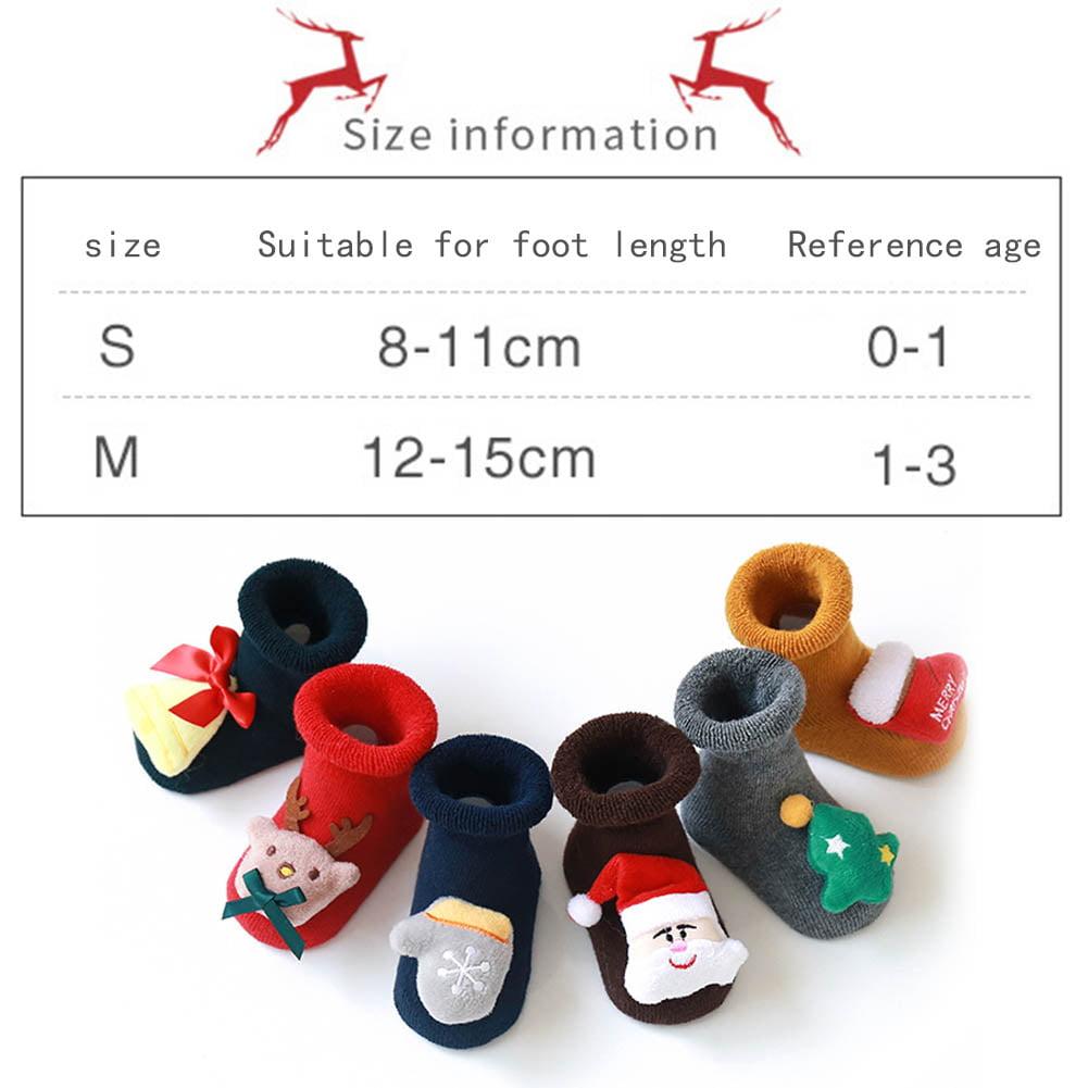 Newborn Baby Boys Girls Christmas Floor Socks Anti-Slip Baby Step Socks Tronet Baby Christmas Socks