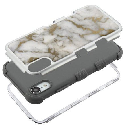 Insten Tuff Krystal Gel Marble Dual Layer [Shock Absorbing] Hybrid Hard Plastic/Soft TPU Rubber Case Cover For Apple iPhone XR, Gray/Gold - image 3 of 5