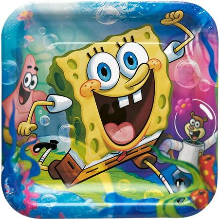 """9"""" SpongeBob SquarePants Square Paper Party Plate, 8ct"""