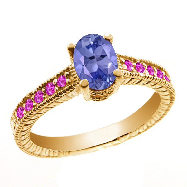 1.25 Ct Oval Blue Tanzanite Pink Sapphire 18K Yellow Gold Ring by