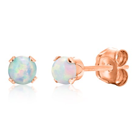 Round 3mm Fire & Snow White Simulated Opal Stud Earrings - Rose Gold Over Sterling Silver .925