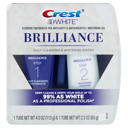 Crest 3D White Brilliance Daily Cleansing Toothpaste And Whitening Gel System  2 Pc
