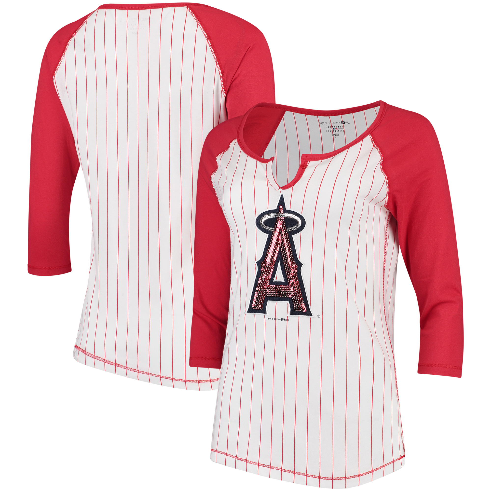 Los Angeles Angels 5th & Ocean by New Era Women's Pinstripe 3/4-Sleeve Notch Neck Raglan T-Shirt - White/Red