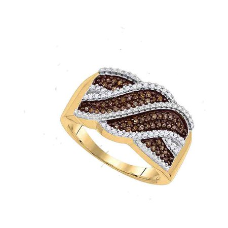 10kt Yellow Gold Womens Round Cognac-brown Colored Diamond Crossover Band 1/3 Cttw