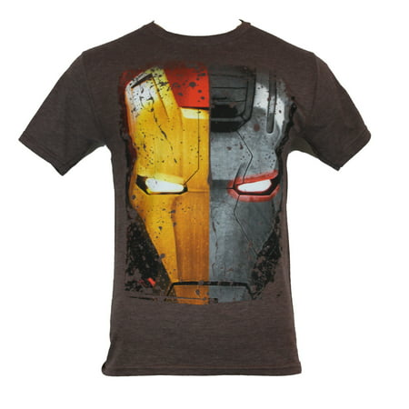 Iron Man 3 (Marvel Comis) Mens T-Shirt -  Giant Half Iron Man War Machine Face - Real Iron Man Suits For Sale