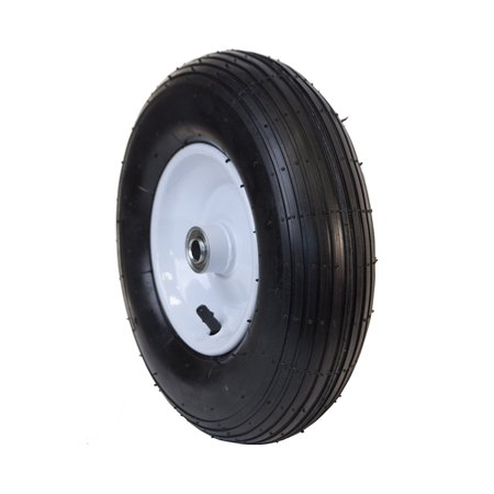 ALEKO Ribbed Pneumatic Replacement Wheel for Wheelbarrow - 13 Inch - Black Tire with White