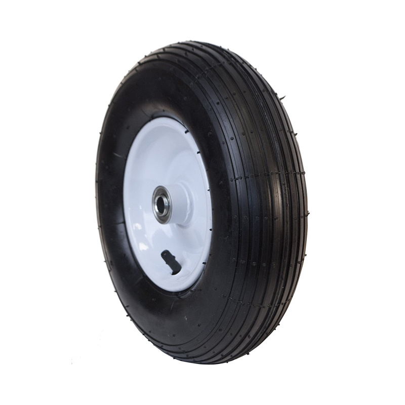 ALEKO Ribbed Pneumatic Replacement Wheel for Wheelbarrow - 13 Inch - Black Tire with White Rim