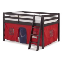 Roxy Junior Loft Bed with Red and Blue Tent, Espresso