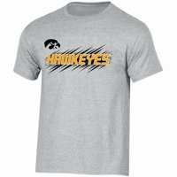 Youth Russell Athletic Gray Iowa Hawkeyes Puff Ink Crewneck T-Shirt