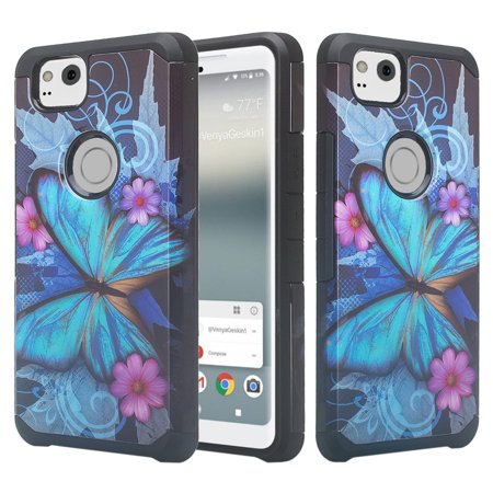 newest collection f83ca 9b89d Google Pixel 2 XL Case Silicone Hybrid Dual Layer Protective Case Cover for  Google Pixel 2 XL - Blue Butterfly