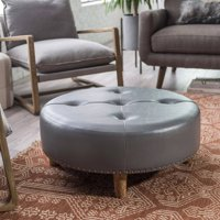Finley Home Jasper Ottoman with Nailheads - Gray