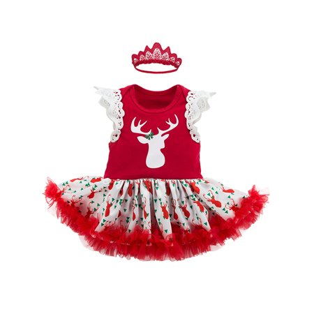 stylesilove infant baby girl christmas character romper tutu dress with headband 2 pcs holiday outfit set 703 6 months red deer