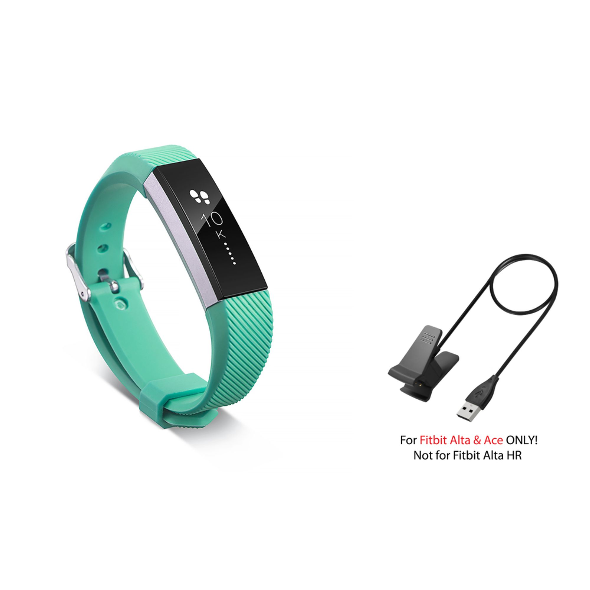 Fitbit Alta / Ace Band by Zodaca Replacement Band Wrist Band and Fitbit Alta / Ace Charger Cable Charging Cord Accessory Bundle for Fitbit Alta / Ace - Mint Green