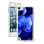 For Apple iPod Touch 5th / 6th Generation Hard Back Case Cover Light Blue Jellyfish (White)