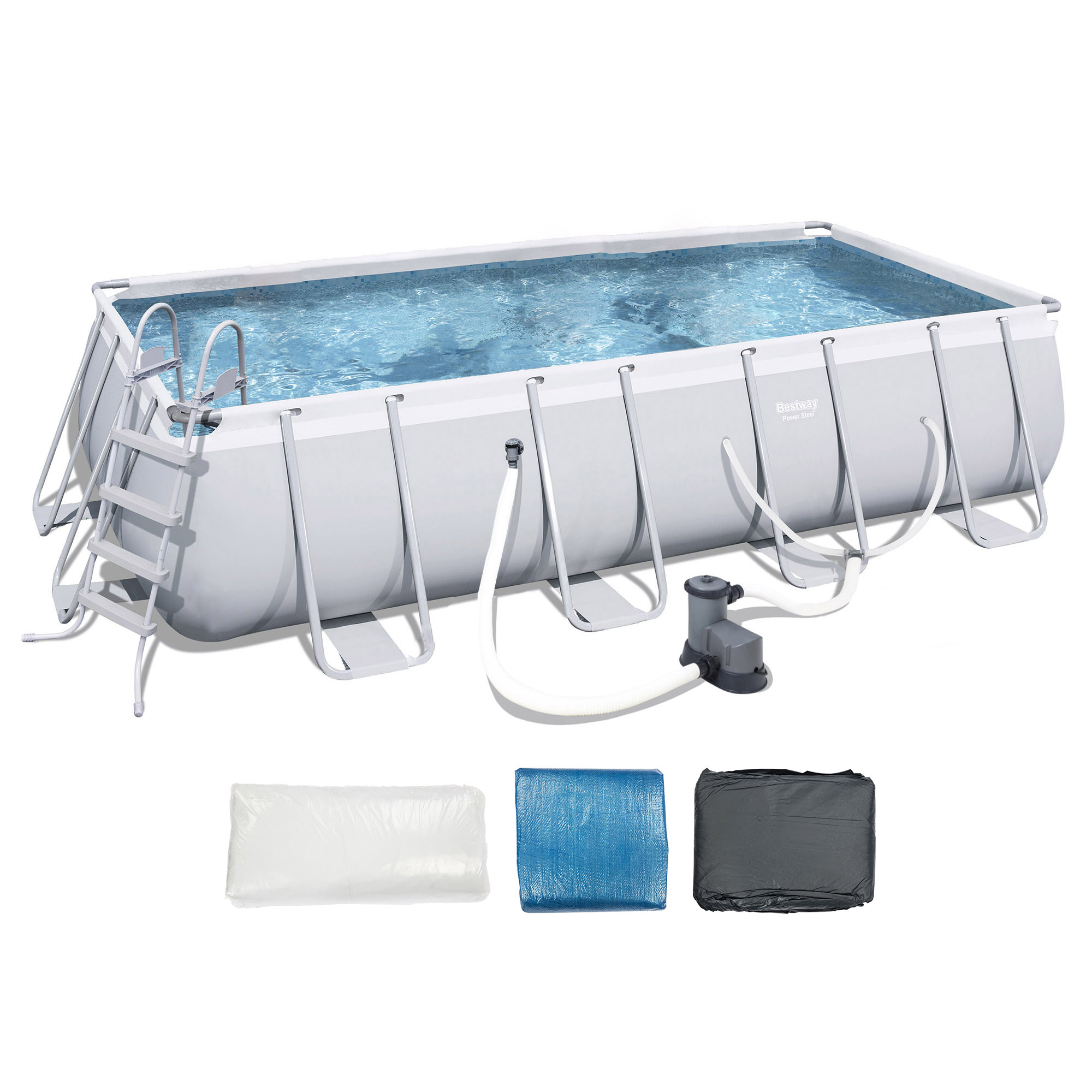 "Bestway 18'x9'x48"" Rectangular Frame Above Ground Pool Set with Ladder & Pump"
