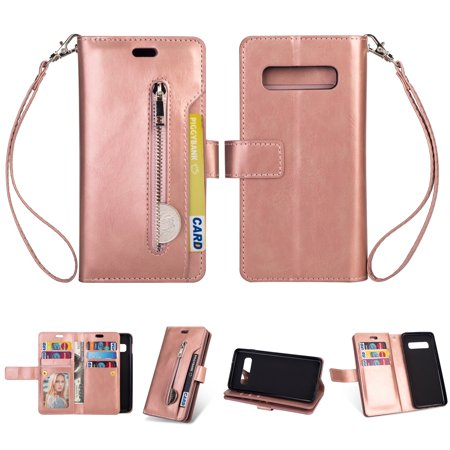 Soft Leather Case Cover - Galaxy S10 Plus Zipper Wallet Case, Allytech [Magnetic Closure] Multi-Functional Handbag Stand Function Folio PU Leather Flip Cover Inner Soft TPU Case for Samsung Galaxy S10 Plus, Rosegold