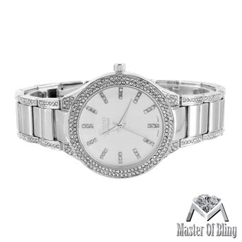 Lab Created Cubic Zirconia Geneva Watch Womens White Gold Silver Tone Platinum 42MM Dial Steel