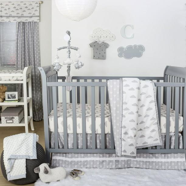 The Peanutshell Grey Moon /& Stars Fitted Crib Sheet Set 4 Pack Celestial Print Grey /& White