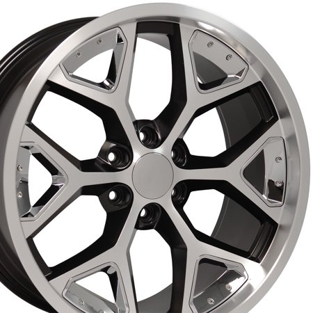 OE Wheels 22 Inch | Fits Chevy Silverado Tahoe GMC Sierra Yukon Cadillac Escalade | CV98 Satin Black Machined with Chrome 22x9.5 Deep Dish Rim | Hollander 5668