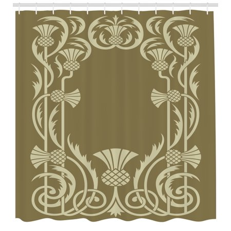 Art Nouveau Shower Curtain Floral Border With Tropical Pineapple Fruits Leaves Retro Style Swirls Fabric Bathroom Set Hooks Sepia Sage Green