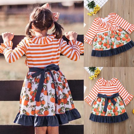 Halloween Princess Baby Girls Dress Pumpkin Print Striped Dress Party Autumn Casual Dresses 1-5Y](Pumpkin Princess)